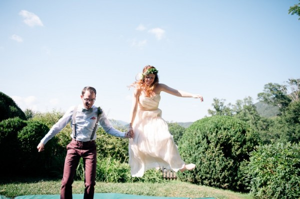 wedding couple jumping